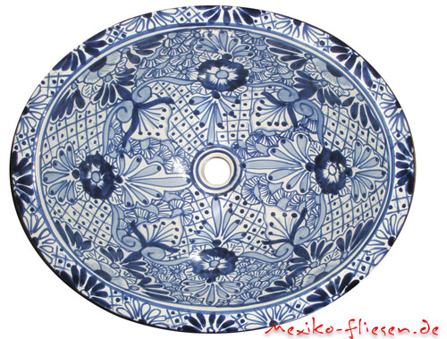 waschbecken blau weiss kaufen im mexiko fliesen shop. Black Bedroom Furniture Sets. Home Design Ideas