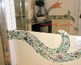 Bad mit grüner Mosaik-Bordüre