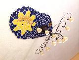Decken-Mosaik um Hängelampe