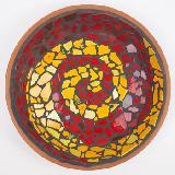 Mosaikschale mango-rot Spirale