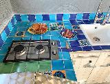 Meeresblaue Outdoor-Küche