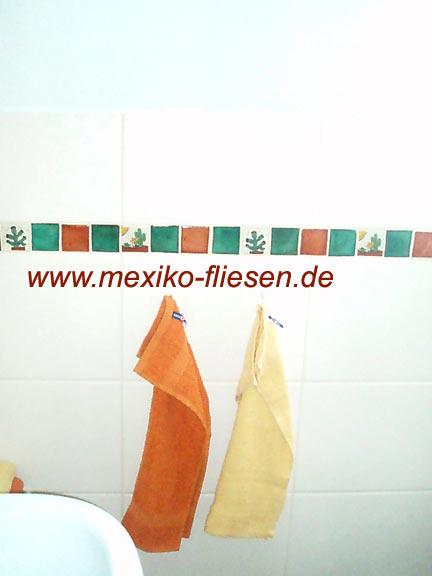 Mexikanische Fliesenbordüre im Badezimmer