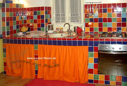 Mexikofliesende MexikoFliesen Shop - Blaue fliesen küche