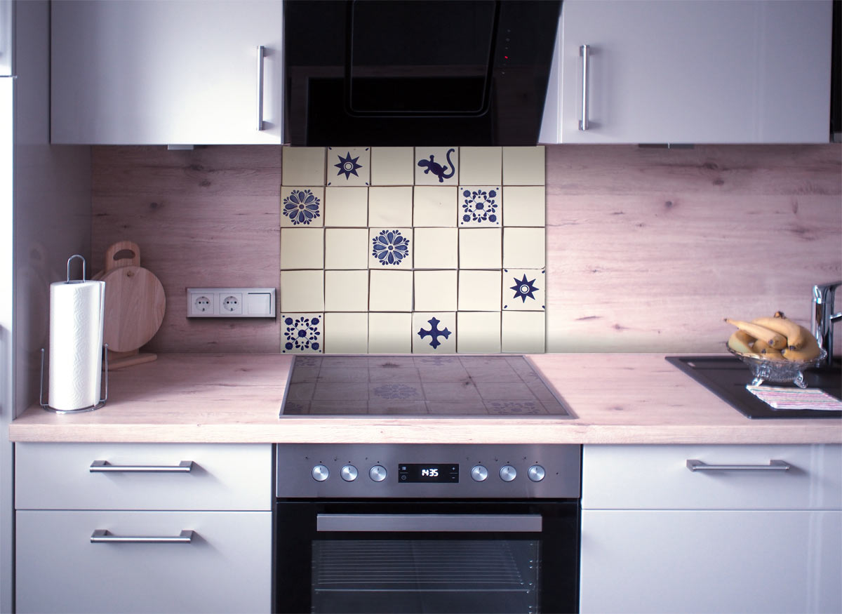 Küchenspiegel Fliesenset Blau-Weiss 30 Fliesen kaufen im ...
